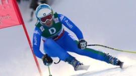 Nadia Fanchini in gara. Per l'azzurra argento a sorpresa nei Mondiali di Schladming (fonte immagine: skimag.it)