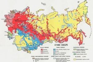 Una mappa della Russia che evidenzia le differenze etniche all'interno del Paese