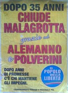 Uno dei manifesti che annunciava la chiusura della discarica di Malagrotta (fonte immagine: rifiutizerofiumicino.it)