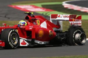 La posteriore sinistra di Massa dopo lo scoppio dello pneumatico (fonte immagine: formula1.com)