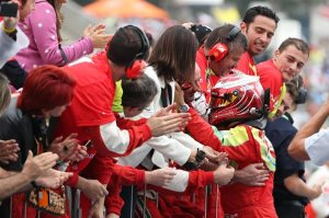 Uno dei pochi momenti in cui la Ferrari ha potuto esultare per un risultato positivo