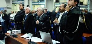 Il pm Nino Di Matteo, il procuratore aggiunto Vittorio Teresi, il procuratore Francesco Messineo, e i pm Francesco Del Bene e Roberto Tartaglia