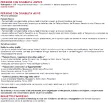 Uno screenshot del sito dei Musei Capitolini dove è spiegato che il disabile/invalido più accompagnatore non paga l'entrata