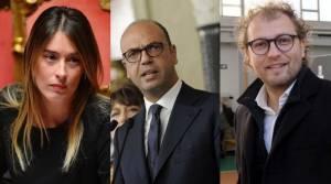 Da sinistra, Maria Elena Boschi, Angelino Alfano e Luca Lotti